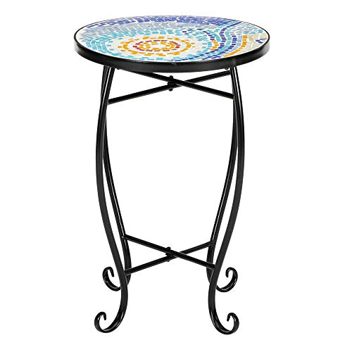 Mosaic Table Patio, 13.8 Inch Round Vintage Coffee Table with Metal Leg for Patio Balcony Yard