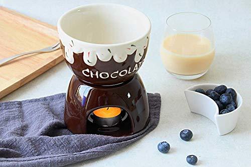 Juego de ollas para fondue lindo juego de fondue creativo hecho de cerámica esmaltada para fondue de chocolate o idea de fondue de queso para una fiesta de inauguración o regalo de cumpleaños - choc