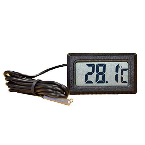 BAAQII LCD display thermometer met sonde voor de koelkast Aquarium -50 ~ 110 °C zwart