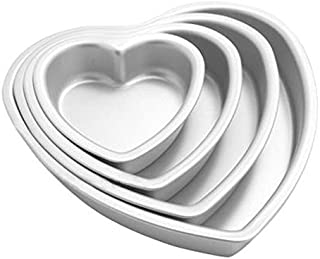 eoocvt 4pcs Aluminium Heart Shaped Cake Pan Set Tin Muffin Chocolate Mold Baking with Removable Bottom - 5