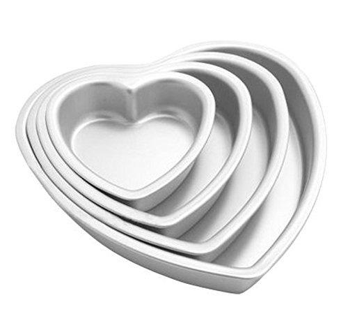 MEETOZ 4pcs Aluminium Heart Shaped Cake Pan Set Tin Muffin Chocolate Mold Baking with Removable Bottom - 5' 6' 8' 10'