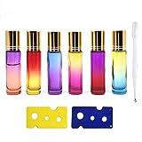 Roll On Glasflaschen für ätherisches Öl, 10 ml Glasroller Nachfüllbarer Behälter für ätherische Öle, Aromatherapie, Duftstoff, inklusive 1 Tropfer & 2 Öffner (6 Stück) (style1)