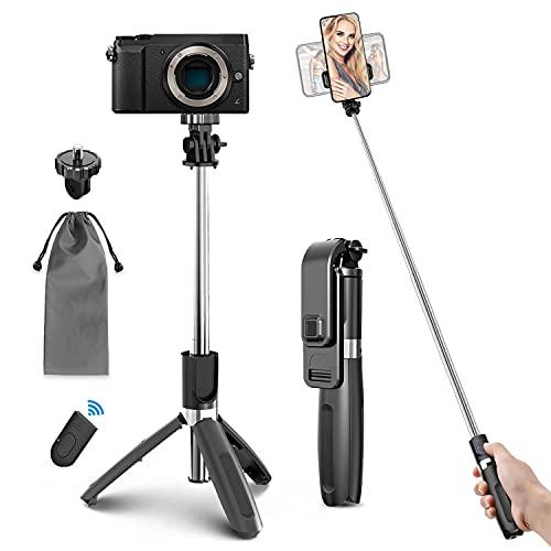 Palo Selfie Trípode Bluetooth, 4 en 1 Selfie Stick Móvil con Control Remoto Inalámbrico, Deportivo Extensible para Viaje, Monopod con Obturador Rotación para Cámara Deportiva, Android iOS
