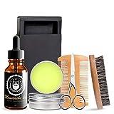 Kit de cuidado de la barba para hombres-barba, kit de aseo incluye cepillo peine bálsamo aceite tijeras cortadora de pelo