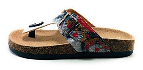NICOBOCO ,  Damen Sandalen, Mehrfarbig - Weiß - Größe: 41