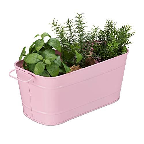 Relaxdays Blumenkasten, für Garten, Balkon & Fensterbank, zum Bepflanzen, Vintage-Optik, Metall, HBT: 16x38x19 cm, rosa