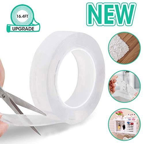 Nano klebeband tape, LIUMY Waschbares doppelseitiges Klebeband, geeignet für Küche(Metall), Wohnzimmer(Wand), Schlafzimmer(Holzkopf), 5M Lange klebeband passend für Teppich, Schlüssel, Fernbedienung
