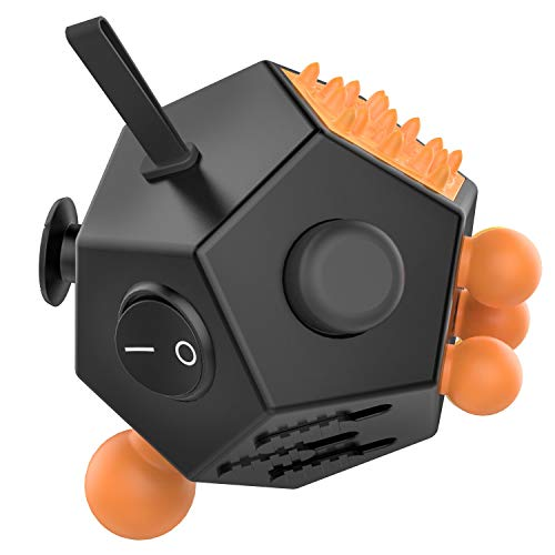 ATiC 12 Sided Fidget Cube, Fidget Twiddle Cube Dodecagon Stress Relief Hand Toy Decompression for ADD, ADHD, Autism Kids and Adults, Black/Orange