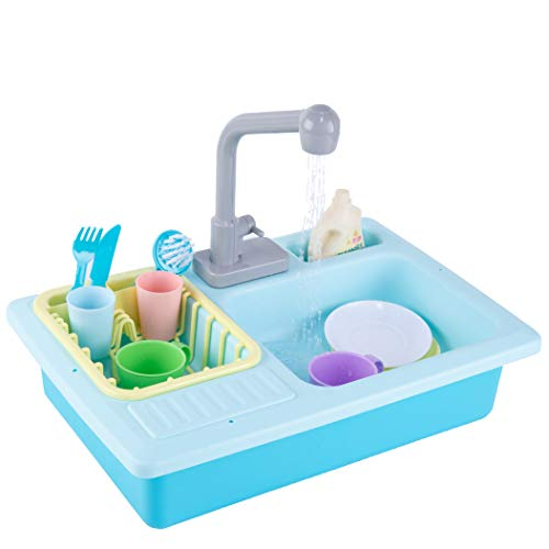Topouped Pretend Sink Playset for Toddlers Running Water Kitchen Dishwasher Playset Sink Toy for Boys Girls Safe with Water (Blue)