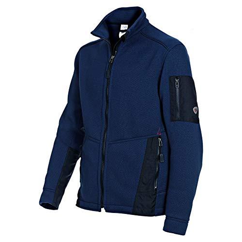 BP 1876-617-110-XL Gestrickte Fleece-Jacke Stehkragen, Frontreißverschluss, 100% Polyester, Nachtblau/Schwarz, XL Größe