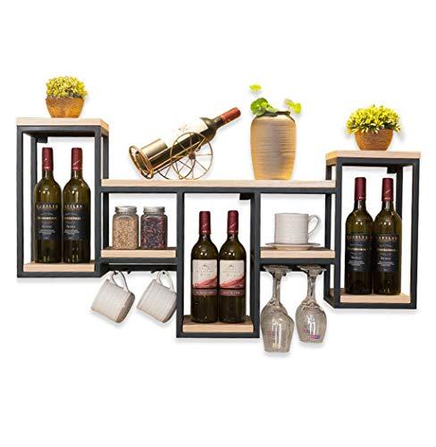 Muebles para el hogar Vinoteca Organizar Cocina Estante para vinos montado en la pared de metal de madera maciza |Soporte para vino...
