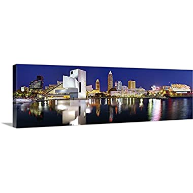CANVAS 2018 Cleveland Skyline NIGHT Color 16  x 46  Rock Roll Hall Fame City Print Photo Picture