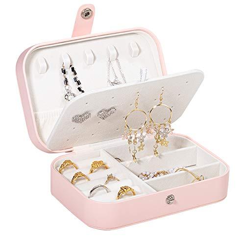 Molshine Caja organizadora de doble capa, para mujer, anillo de viaje, collar, pendientes, pulsera portátil