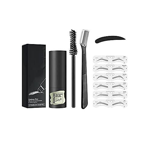 Kit de Modelado de Sellos para Cejas de un Paso, fácil de Usar,Maquillaje Profesional para Sellos en Polvo para Cejas con Plantilla y Pincel Reutilizables para Cejas (Gris Oscuro)