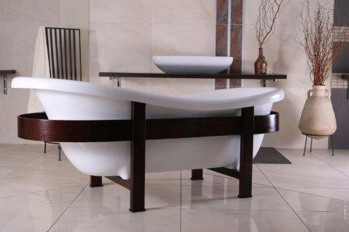 Casa Padrino Freistehende Badewanne Jugendstil Toscane 1675mm Weiß/Holzgestell Braun - Antik Stil Badezimmer