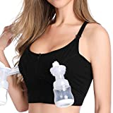 Hands Free Pumping and Nursing Bra, Lupantte Adjustable Breast Pump Bra with Front Zipper, Comfortable Breastfeeding Bra for Breast Pumps like Spectra, Lansinoh, Philips Avent, Bellababy, etc.(Medium)