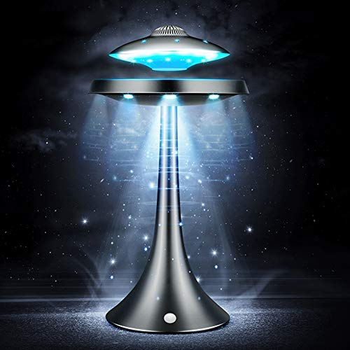 DSHUJC Luz Nocturna antigravedad, Estéreo Bluetooth magnético Carga inalambrica Platillo Volador Flotante Lámpara de Noche Moderna Luz de respiración de Siete Colores
