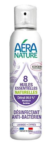 """AERA NATURE : Désodorisant, Assainissant antibactérien, contrôlé ECOCERT aux 8 huiles essentielles"""" LAVANDE -CYPRES"""", 125ml, by Laboratoire Columbus Natura"""