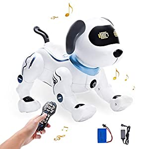 YuanBo Remote Control Robot Dog for Kids,Programmable Smart RC Robot Dog Toys Interactive Stunt Robotic Dog Handstand Push-up Singing Dancing Rechargeable Electronic Robot Puppy Gifts for Boys Girls