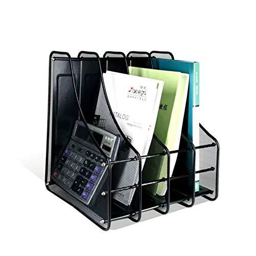 Estantería de documentos de red con 4 compartimentos, divisores para libros, carpetas, estantes metálicos, para el hogar y la oficina, estante vertical Leyue