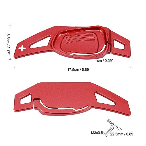 X AUTOHAUX Pair Red Car Steering Wheel Shift Paddle Cover Shifter Extension for Audi A5 S3 S6 SQ5 RS6 RS7