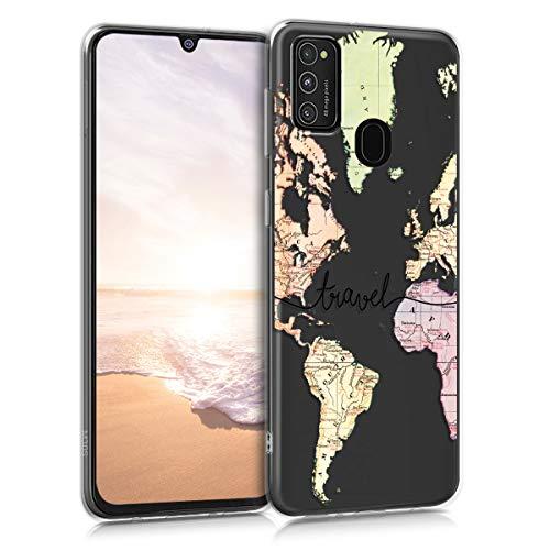 kwmobile Hülle kompatibel mit Samsung Galaxy M21 - Handyhülle - Handy Hülle Travel Schriftzug Schwarz Mehrfarbig Transparent