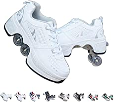 Roller Skates for Women Outdoor,Parkour Shoes with Wheels for Girls/Boys,Kick Rollers Shoes Retractable Adults/Kids,Quad Roller Skates Men,Unisex Skating Shoes Recreation Sneakers,White-9.5US