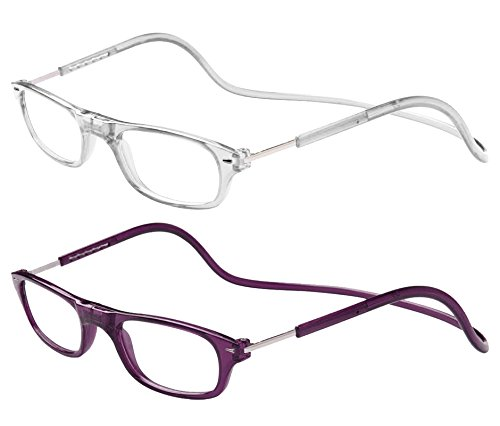 TBOC Pack: Gafas de Lectura Presbicia Vista Cansada – (Dos Unidades) Graduadas +3.50 Dioptrías Montura Transparente y Morada Oscura Hombre Mujer Plegables Lentes Aumento Leer Ver Cerca Cuello Imán