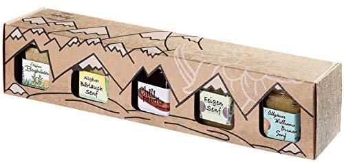 Allgäuer Genuss-Box | 5x Spezialitäten-Gläser: 4x Feinkost-Senf (Bergkräuter, Bärlauch, Feigen, Birnen) & 1x Chili-Paprika-Gelee in der Geschenkbox