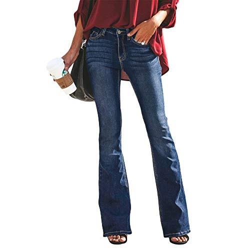 Shujin Damen Retro Jeanshose Bootcut Hohe Taille Weites Bein Hüftjeans Stretch Denim Schlagjeans Schlaghose mit Gürtel(EU 38/Etikettengröße XL)