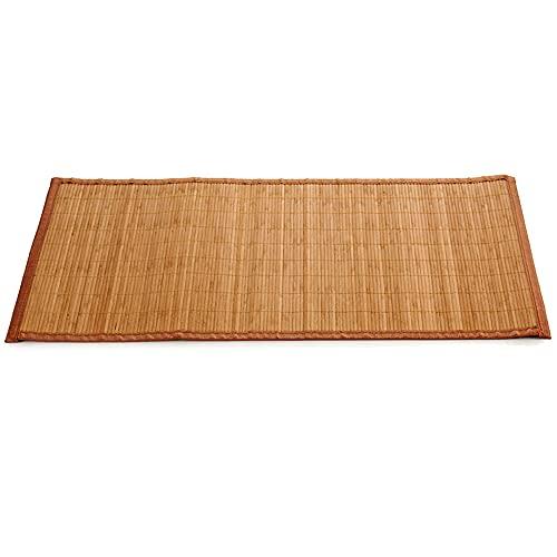Alfombra de bambú Marrón para Interior y Exterior, Alfombra Bambú Salón, Cocina, Despacho, Dormitorio, Antideslizante, con Cenefa, 50x80cm (Marrón)