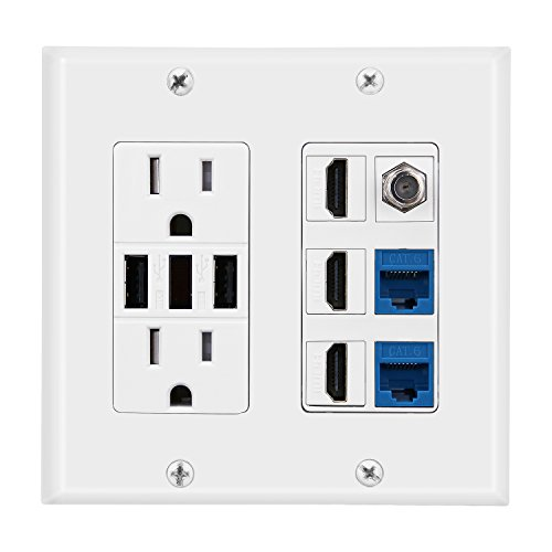 2 Power Outlet 15A with Dual 3.6A USB Charger Port Wall Plate with LED Lighting, DBillionDa 3 HDMI HDTV + 2 CAT6 RJ45 Ethernet + Coaxial Cable TV F Type Keystone Face Plate White