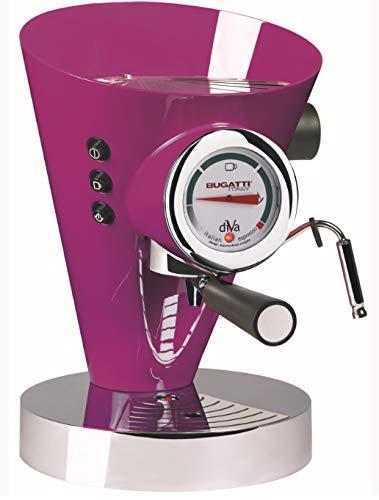 BUGATTI, Diva, Espresso Kaffee-und Cappuccino-Maschine,für gemahlenen Kaffee und Pads, 15 bar,950 W, Fassungsvermögen 0,8 Liter, Elegantes Design, Lila