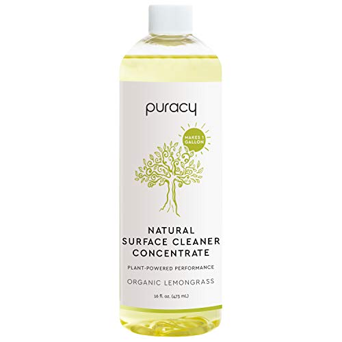 Puracy All Purpose Cleaner Concentrate, Organic Lemongrass, Household Natural Multi-Surface Solution, Makes 1 Gallon