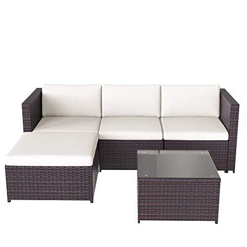 Homgrace Sofá esquinero de jardín, sofá de esquina de ratán, muebles de jardín, juego de patio, juego de jardín, muebles de ratán (marrón)