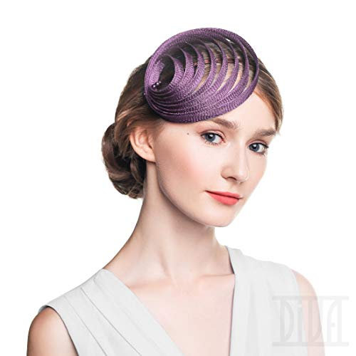 Fascinator Headband Cocktail Wedding Headwear Tea Party Hat for Women (Lavender)