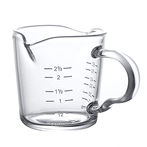 Thicken Espresso Shot Glass with Handle, 70ml Double Spout Glass Measuring Cup Espresso Accessories, Mini Liquid Measuring Cups with Two Scales (OZ&ML)