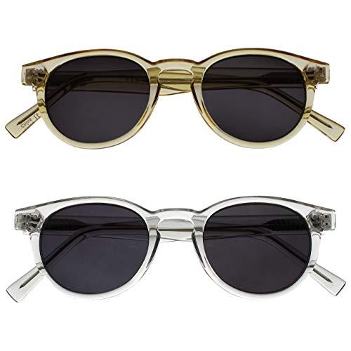 Opulize Rox 2er-Pack Super Stylisch Transparentee Gold Klar Damen Herren Sonnen-Leser Lesebrille UV400 Runden SS89-9C +2,50