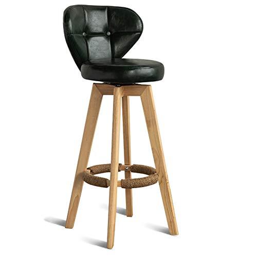 bar, Noors, modern, minimalistisch, Home bar, hoge stoel, rugleuning van massief hout, draaibaar, barkruk, donkergroen, Oil Wax Skin