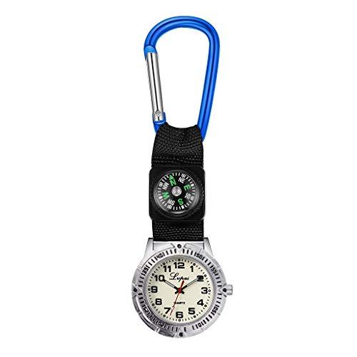 Kelry Unisex Uhren Tragbare Sportuhr Multifunktions Kompassuhr Krankenschwester Hängende Uhr Schwesternuhr für Herren Damen Doctor Paramedic(Blau)