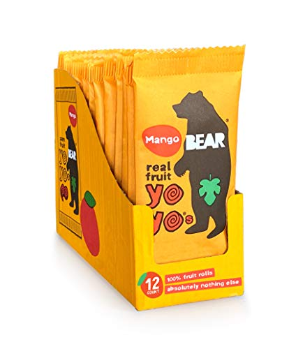 BEAR Real Fruit Snack Rolls - Gluten Free, Vegan, and Non-GMO - Mango – 12 Pack (2 Rolls Per Pack) - Healthy School And Lunch Snacks For Kids And Adults