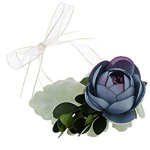 Silk Flower Arrangements Flameer Silk Camellia Wrist Corsage for Men Wedding Suit Decors, Corsage Wristlet Artificial Flower Boutonnieres Groom Bride Flowers for Wedding Prom