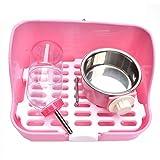 LTM Pet carrier LT Kit de Bandeja de Basura for Inodoro for Mascotas con Botella de Agua y tazón, Caja de Arena for Conejo de Esquina for Animales pequeños (Color : Pink)