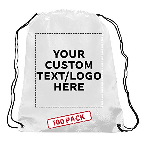 Personalized Drawstring Durable Backpack Non-Woven - 100 Pack - Customizable Text -Sports Back Pack Perfect For Training and Gym - Strong 80 GSM Polypropylene Material - 24 inches Rope String - White