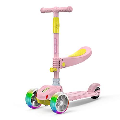 3 Ruedas Kick Scooter, Altura Ajustable, Asiento móvil, con Extra Ancho Ruedas de la PU, para niños de 2 a 5 años de antigüedad,Rosado