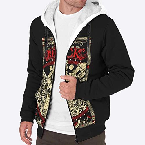 Zhcon Heren Long-Sleeve Rits Rock Gitaar Wing afdrukken Fleece Sherpa Sweater Winter Plus Gewatteerde Hoodie Jas Pullover met Hood
