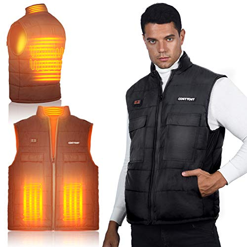 Heated Vest for Men, 6 Pockets, 4 Heating Panels, 3 Mode, Electric Outdoors Coat