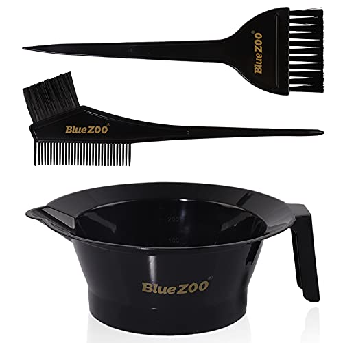 Hair Dye Coloring Kit, Includes Hair Color Mixing Bowl, Tinting Brushes, Sharp Tail Comb for Hair Dyeing, DIY Hairdressing Tools Set of 3 at Home or Salon