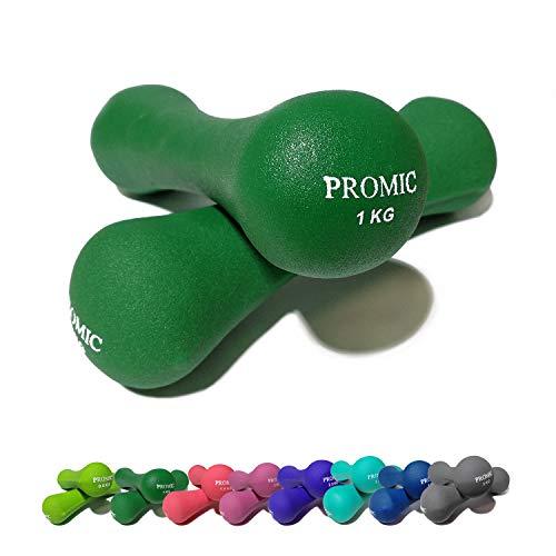 Juego de 2mancuernas de neopreno de Promic en set de 0,5–5kg para hombre y mujer, para entrenamientos de fuerza, color 2 x 5 kg - Grau, tamaño 2 x 5 kg, 11.02