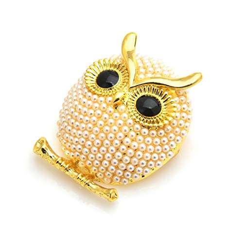 Pearl Owl Brooches Women 3-Color Animal Bird Brooch Pins Gfits-Gold